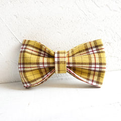 THE LEMON PLAID - Handmade Dog Bow Tie