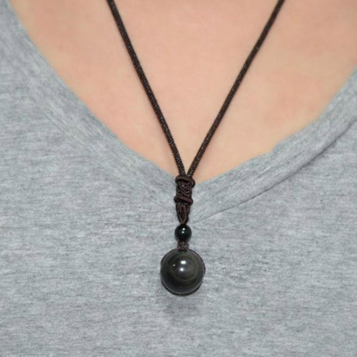"Collier Obsidienne ""Œil Céleste"" Arc-en-ciel Madame Cosmetique"