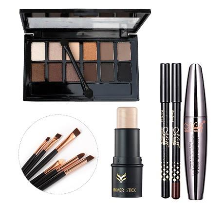Kit Maquillage Complet Palette, Mascara & Pinceaux - Tendance NUDE 123maquillage Blanc