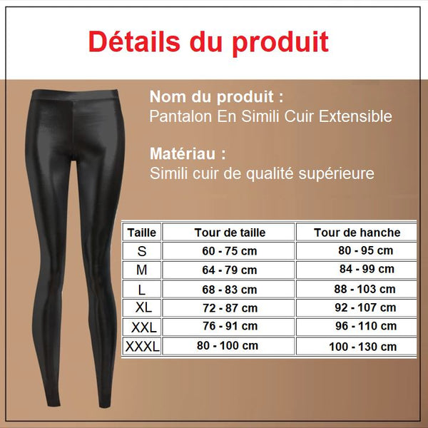Pantalon En Simili Cuir Extensible Madame Cosmetique XL