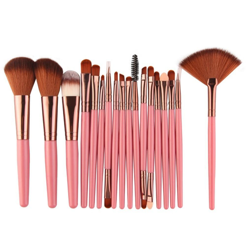 Ensemble de pinceaux professionnels 18Pcs yeux / visage 123maquillage Rose