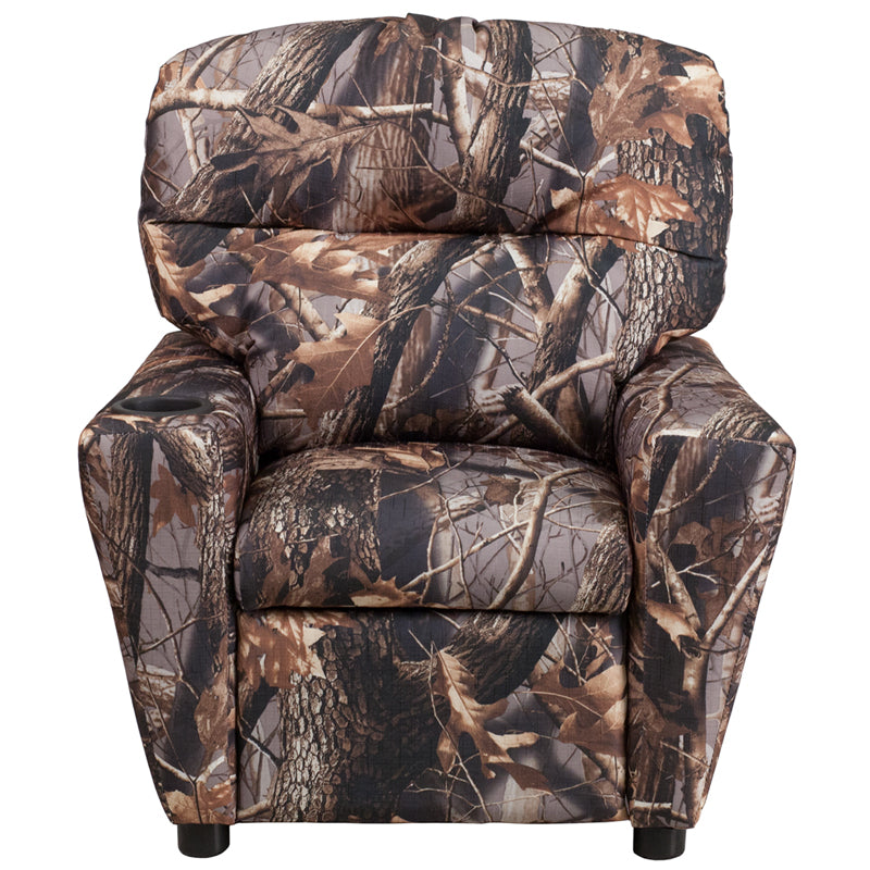 Fabric Camouflaged Kids Recliner with Cup Holder