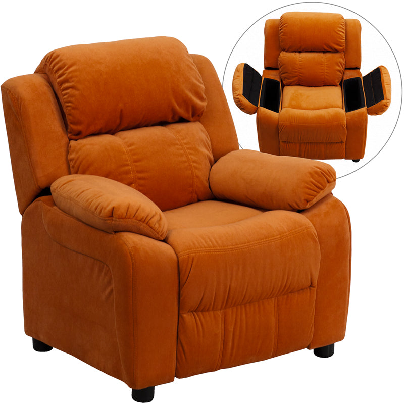 Deluxe Padded Microfiber Kids Recliner with Storage Arms in Various Colors