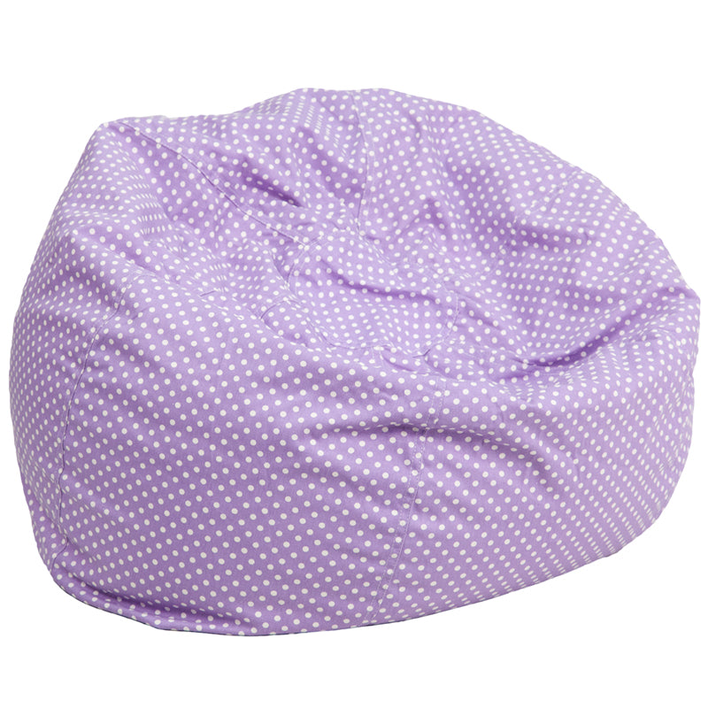 Cotton-Twill Personalize-able Child Sized Bean Bag in Green / Light Pink / Lavender with Mini White Dots