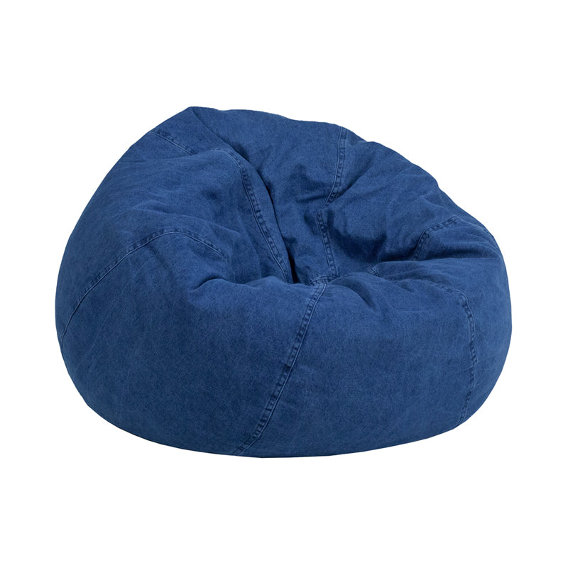 Cotton-Twill Personalize-able Child Sized Bean Bag with Denim Cover