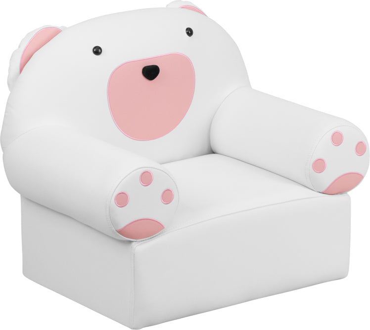 Oversized Kids Bear Lounge Seating Chair in White and Pink