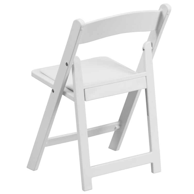 Resin Kids Folding Chair with White Vinyl Padded Seat in White