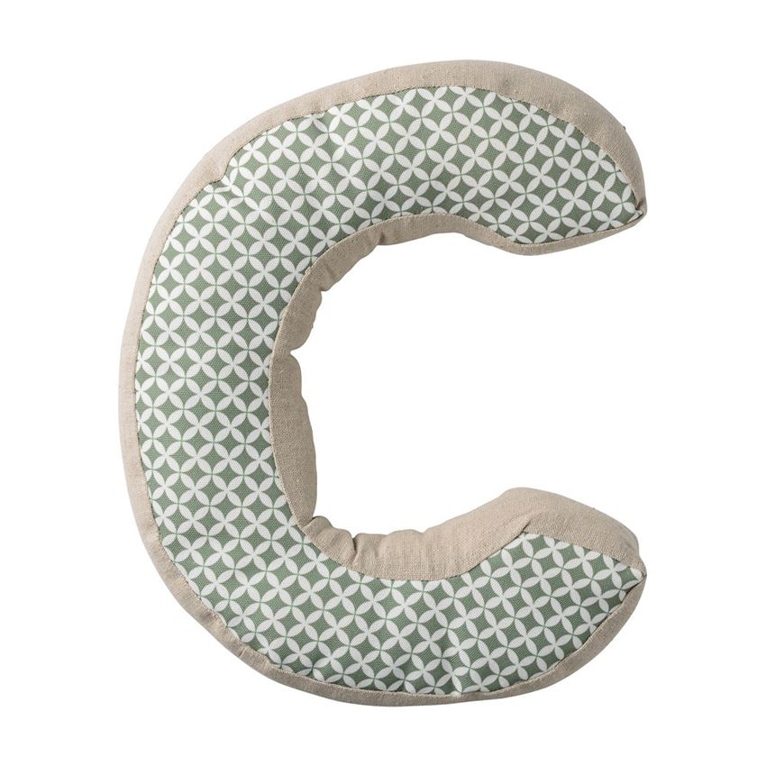 "Cotton ""C"" Shaped Pillow in Sage and Linen"