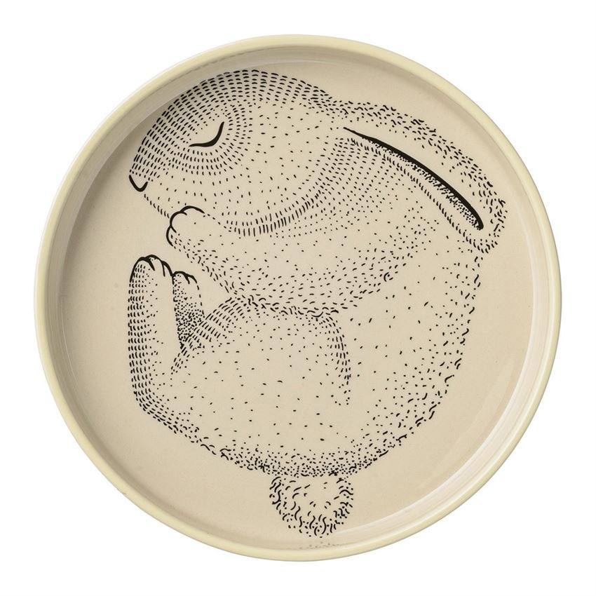 Ceramic Adelynn Round Plate with a Bunny and Pale Yellow Trim
