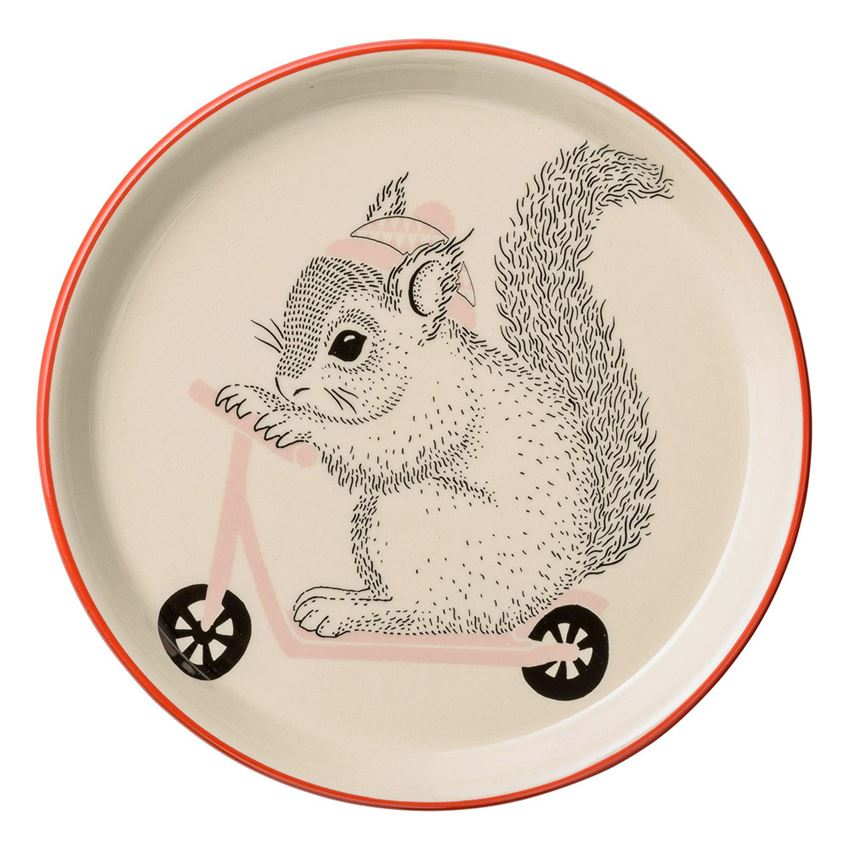 Stoneware Mollie Squirrel on Scooter Plate in Nude with Red trim