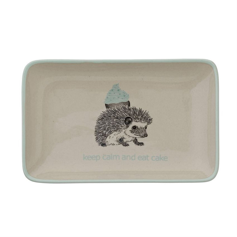 "Stoneware Albert ""Keep calm..."" Rectangle Plate in Off White and Mint"