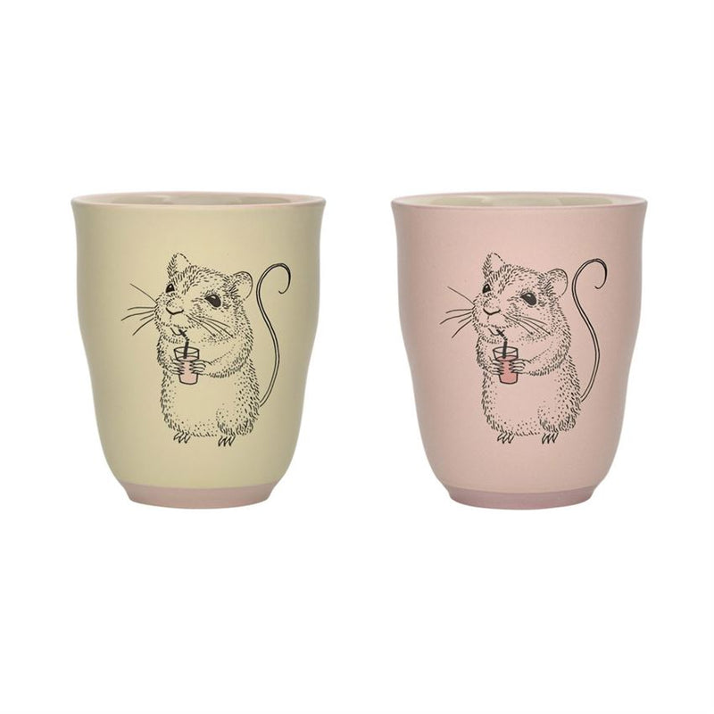 Set of Two Stoneware Edith Cups in Blush and Pale Yellow