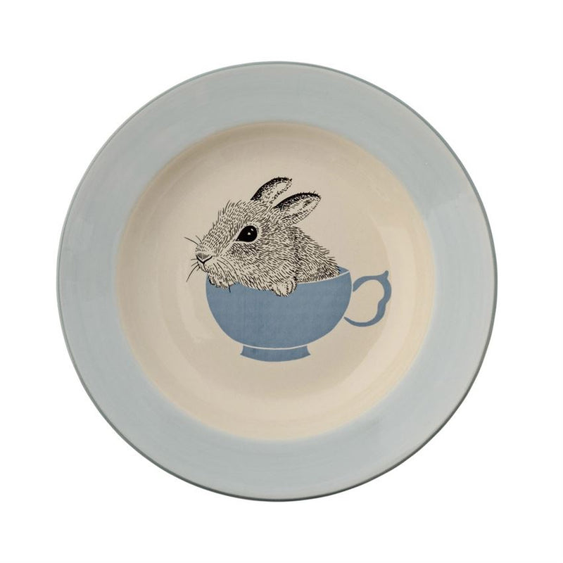 Stoneware Albert Bunny Soup Bowl in Off White and Sky Blue