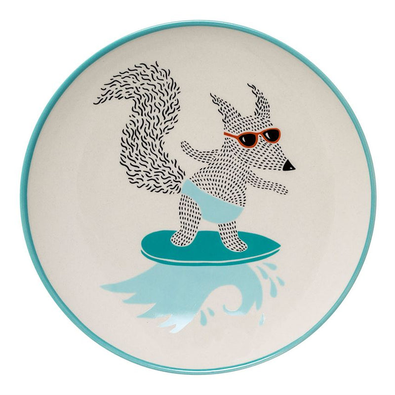 "Melamine ""What are we having?"" Bear Plate in Blue and White with Polka Dots Border"