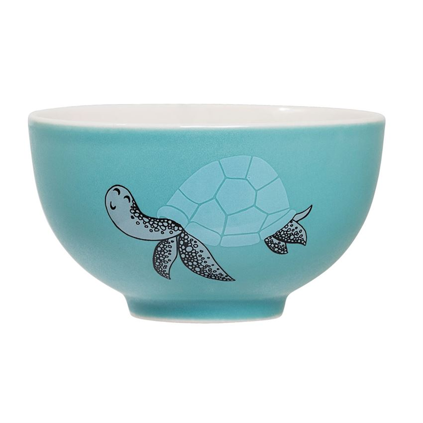 Stoneware Benjamin Bowl in Blue featuring a Tortoise and a Crab