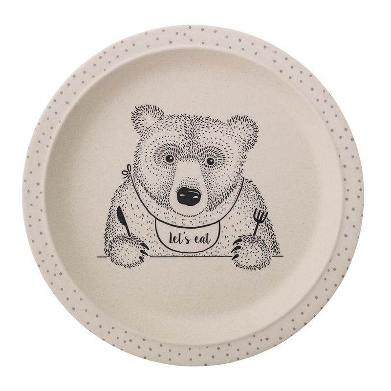 "Bamboo Alex the Bear Plate with ""Let's Eat"" in Natural Color"