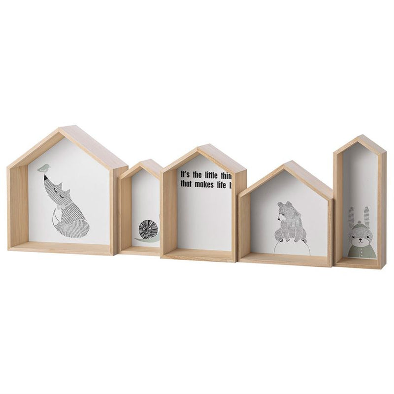 "Wood House Shaped ""It's the little thing..."" / Animal Print Display Box"