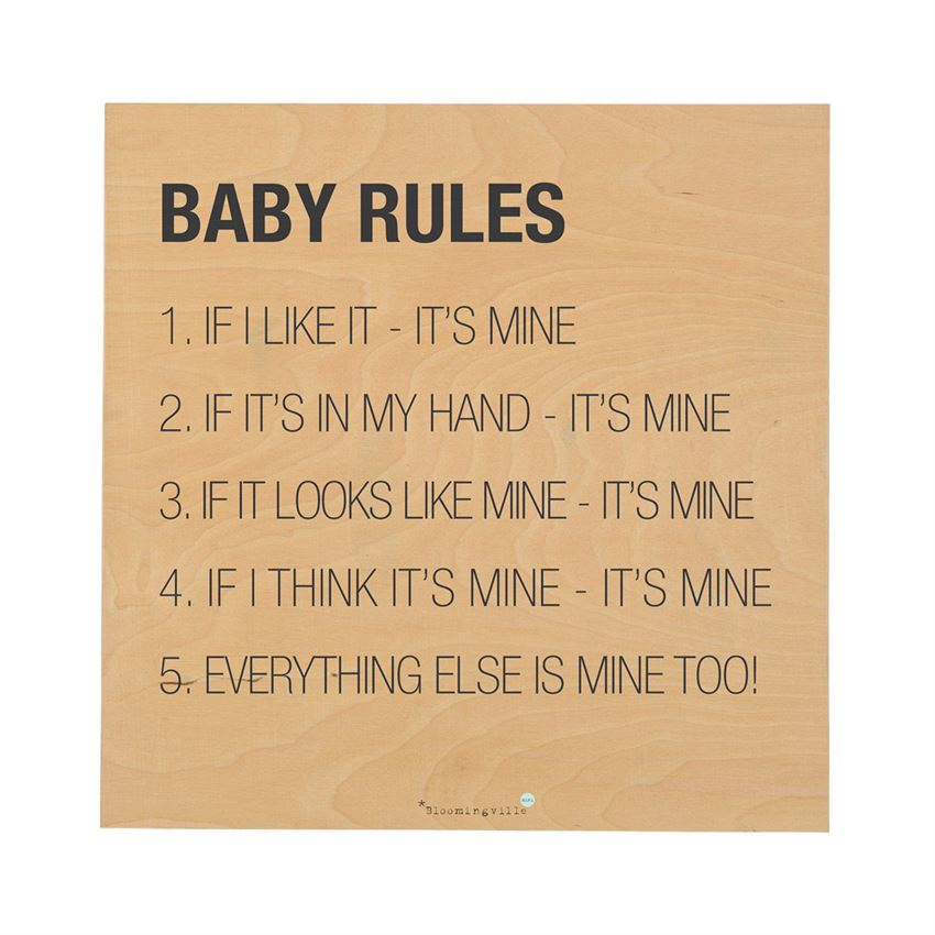 "Wood ""Baby Rules…"" Square Wall Decor"