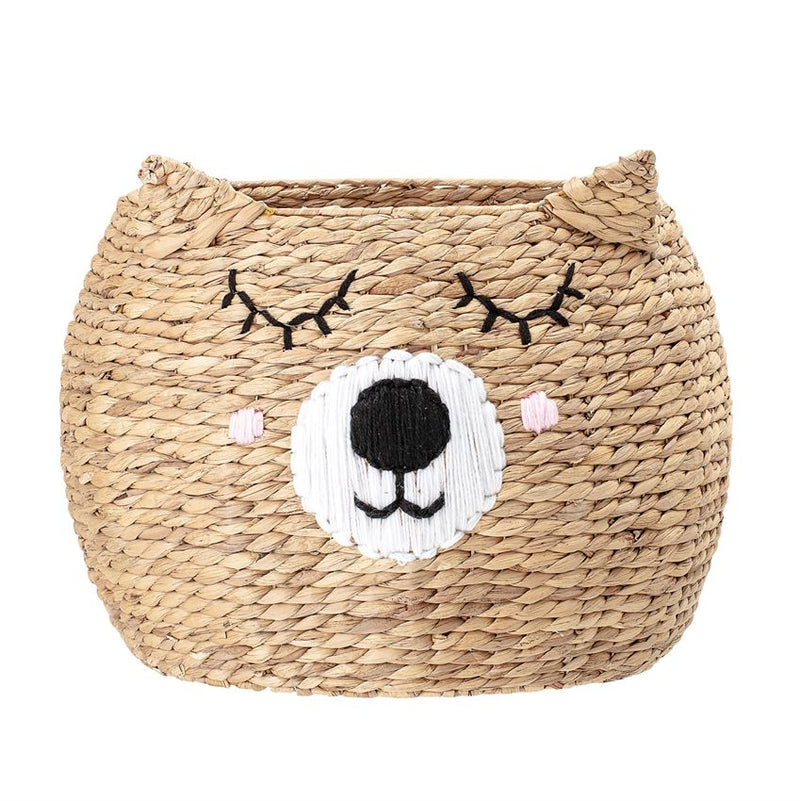 Natural Water Hyacinth Bear with Face Woven Basket