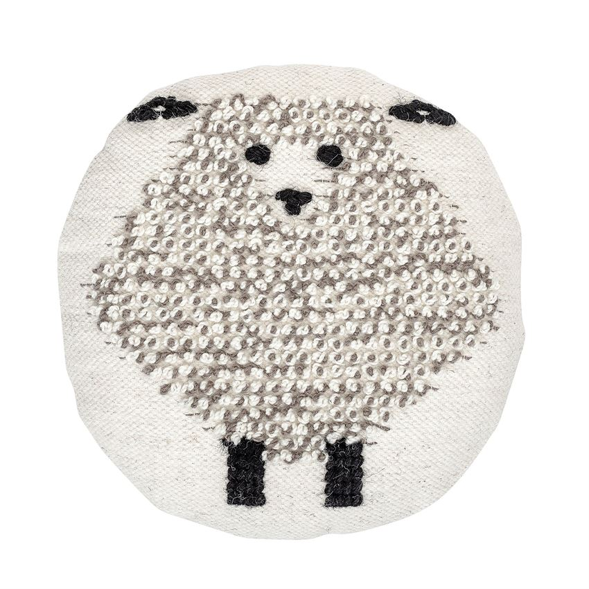 Wool Sheep Round Pillow in Black and White