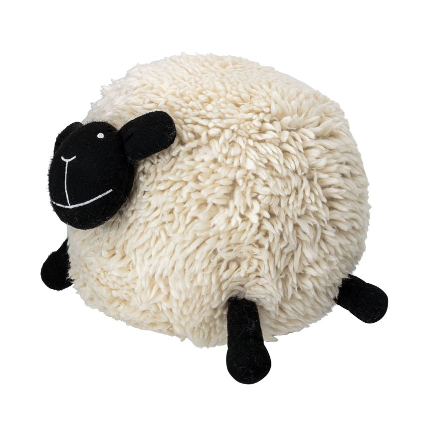 Wool Blend Sheep Pouf in Cream