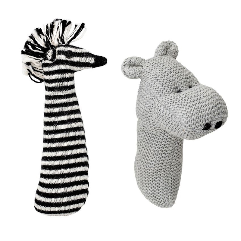 Set of Two Cotton Zebra / Bear Knit Rattles in Grey and Black