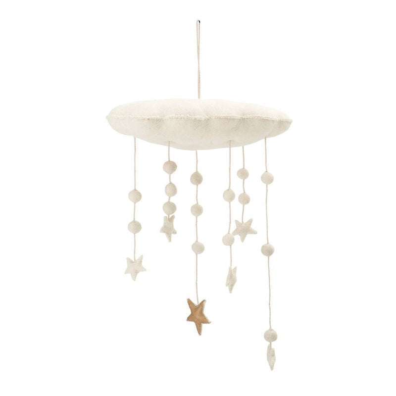 Wool Felted Cloud and Stars Mobile in White and Gold