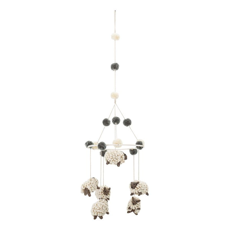 Wool Felt Sheep Mobile in Cream and Black