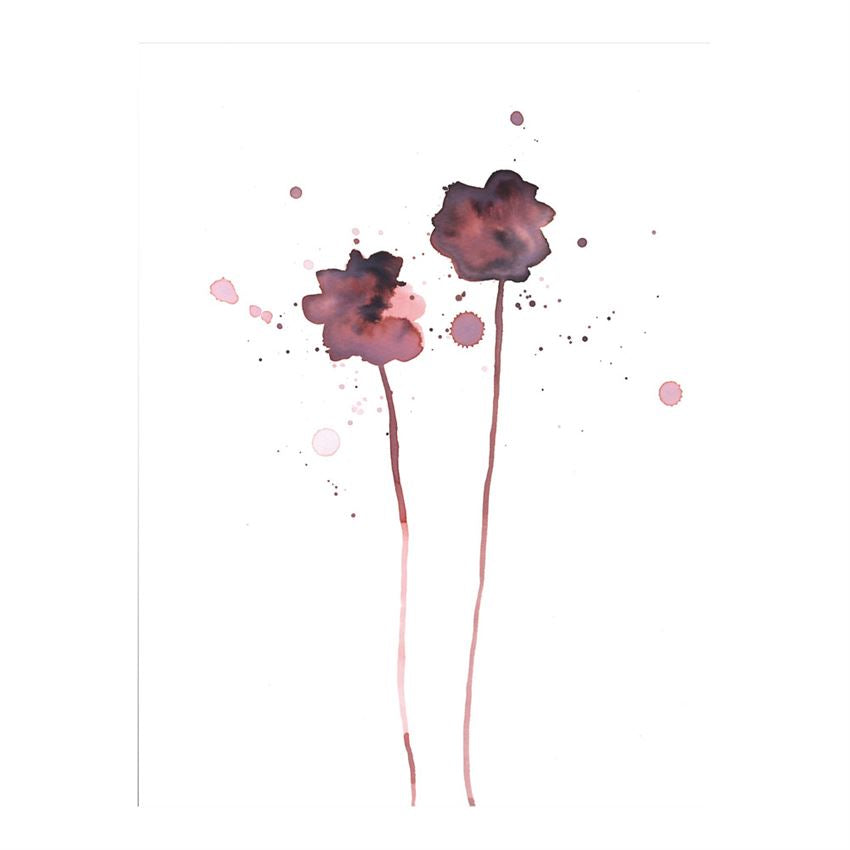 Poster Red Floral Wall Decor on White Background
