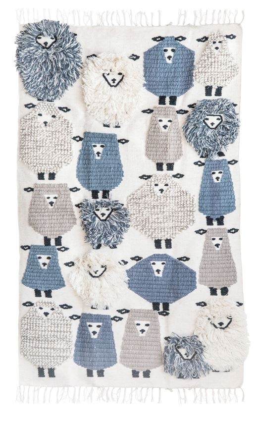Hand-Woven Wool Sheep Patterned Rug in 4 Foot by 6 Foot
