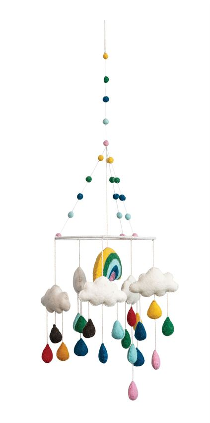 Wool Felt Multicolored Rainbow and Clouds Mobile