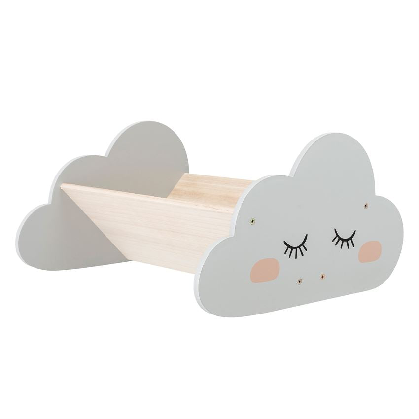 Wood Cloud Shaped Book Shelf in Grey