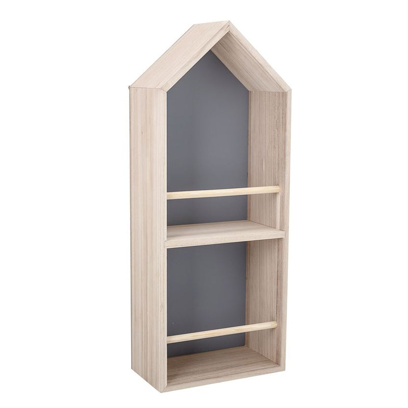 Wood House Shaped Shelf with 2 Shelves