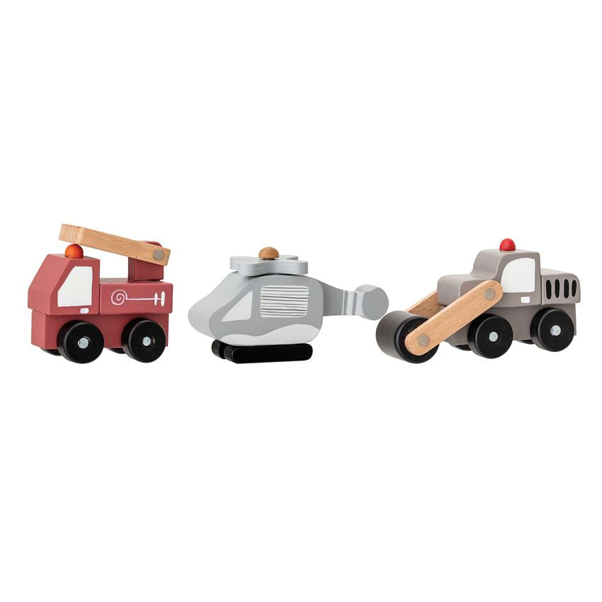 Set of Three Wood Toy Vehicles with Wheels