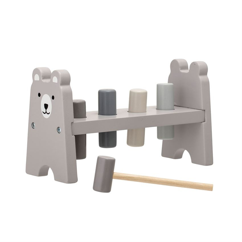 Wood Toy Cobblers Bench with Set of Six Wood & Rubber Hammer in Grey