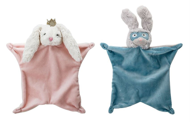 Set of Two Plush Bunny Security Blankets