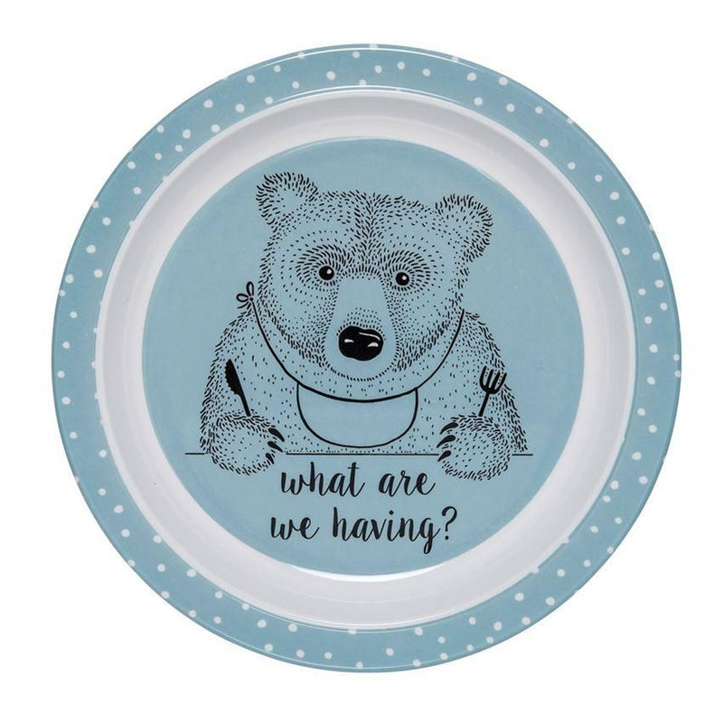 Blue And White Plate With Bear - Plates