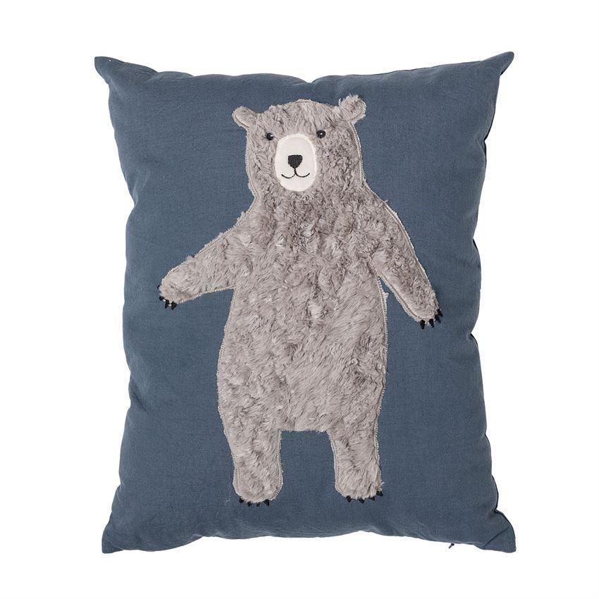 Blue Cotton Pillow With Bear