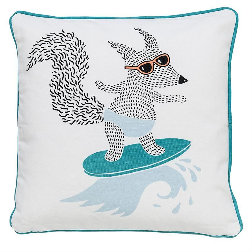 Blue Surfing Fox Pillow