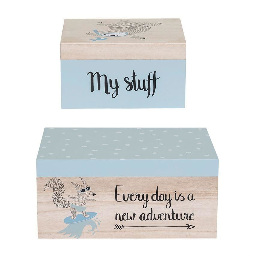 Blue Wood Storage Box Set - Decor