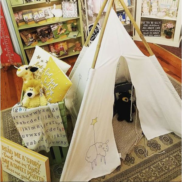 Canvas Teepee With Embroidered Sheep And Bamboo Poles - Toys