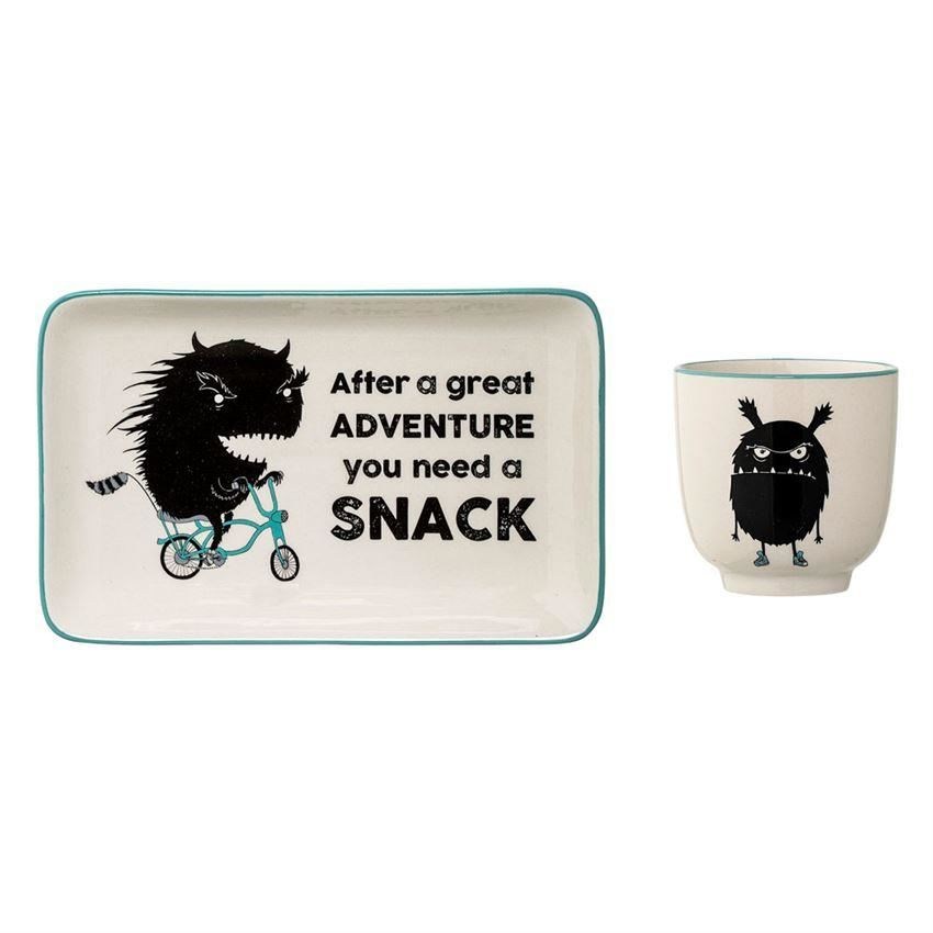 Ceramic Monster Plate Cup Set - Plates