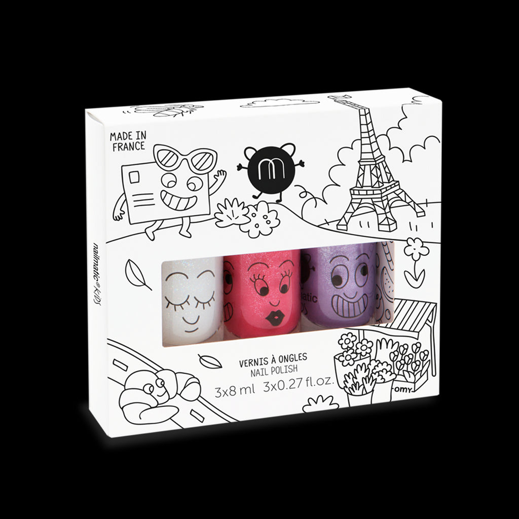 Set of Three Water Based Nail Polishes for Kids – City (Super / Kitty / Piglou)
