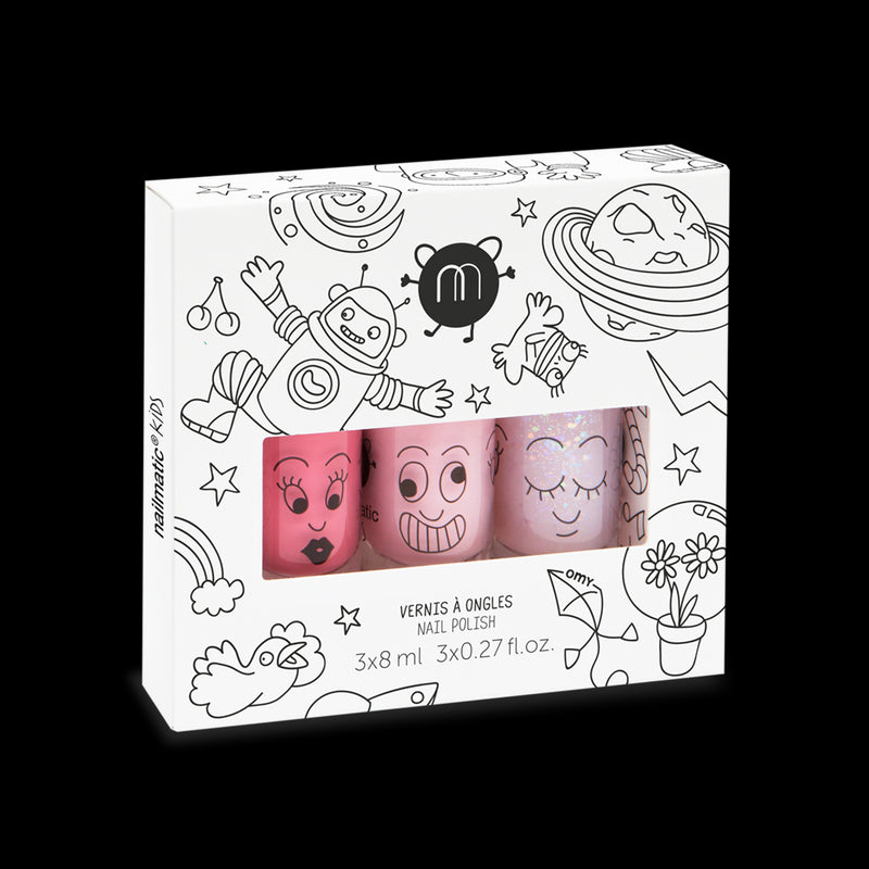 Polly - Water-based Nail Polish for Kids - Clear Pink Glitter
