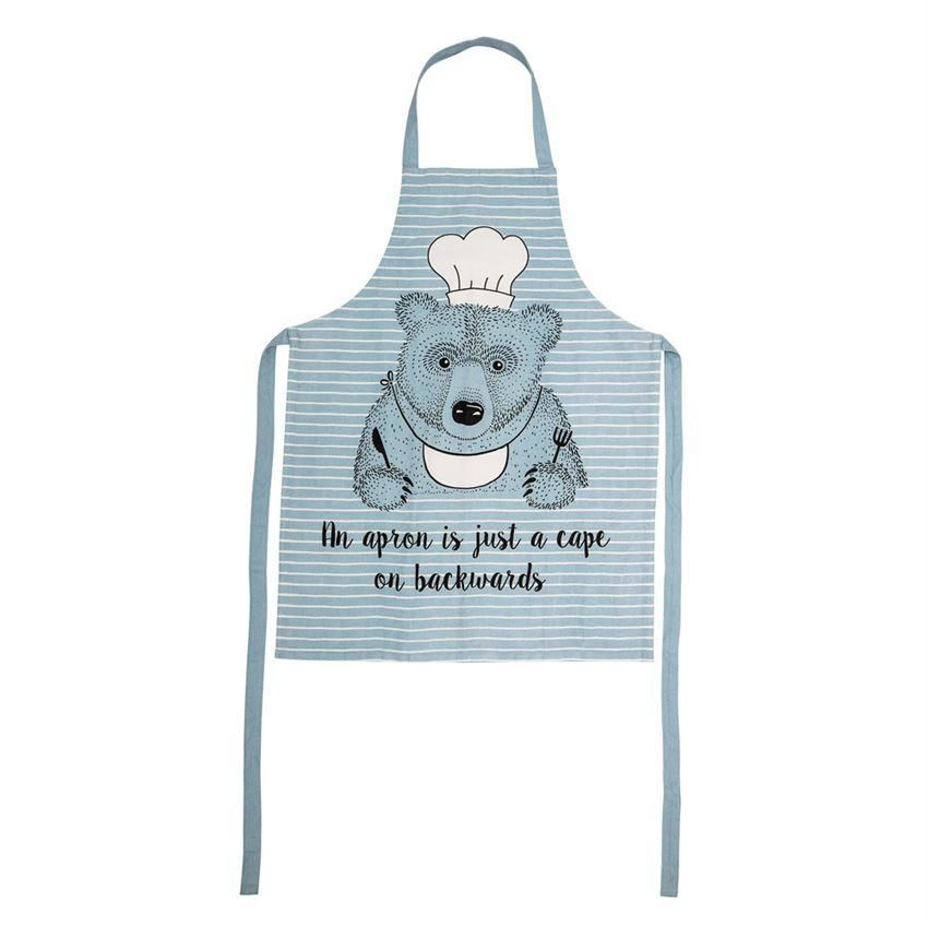 Cotton Blue Apron With Bear - Clothing