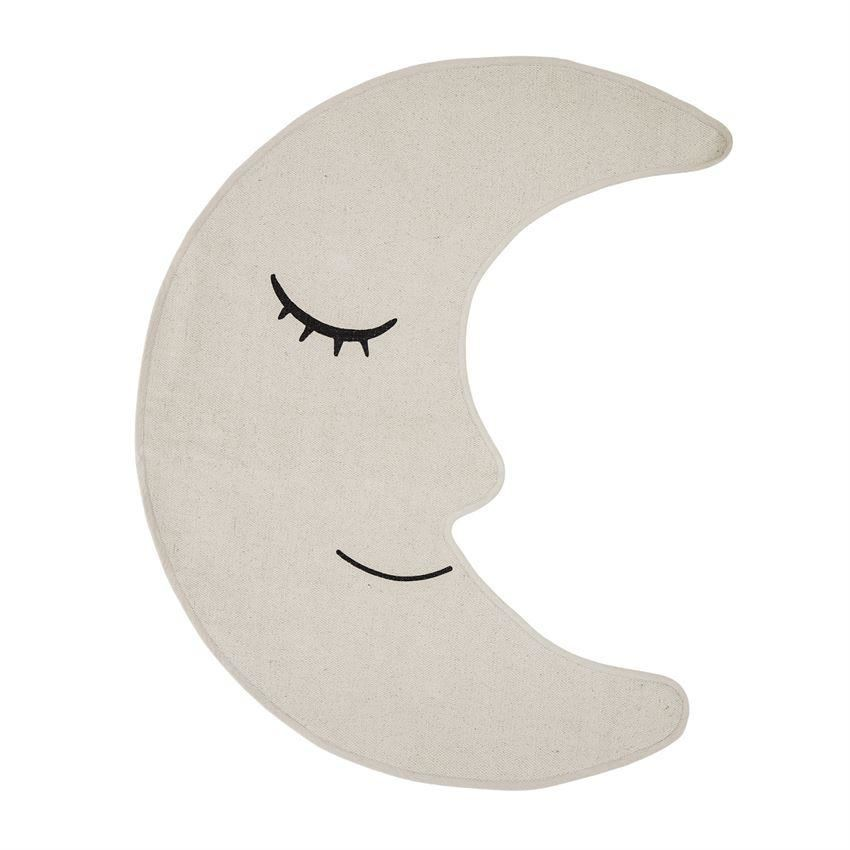 Cotton Cream Moon Shaped Rug