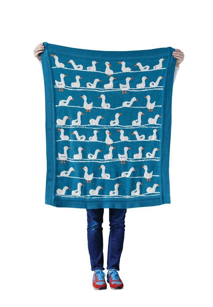 Cotton Knit Blanket With Ducks - Blankets