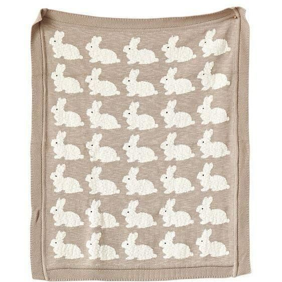Cotton Llama Pattern Knit Baby Blanket in Tan