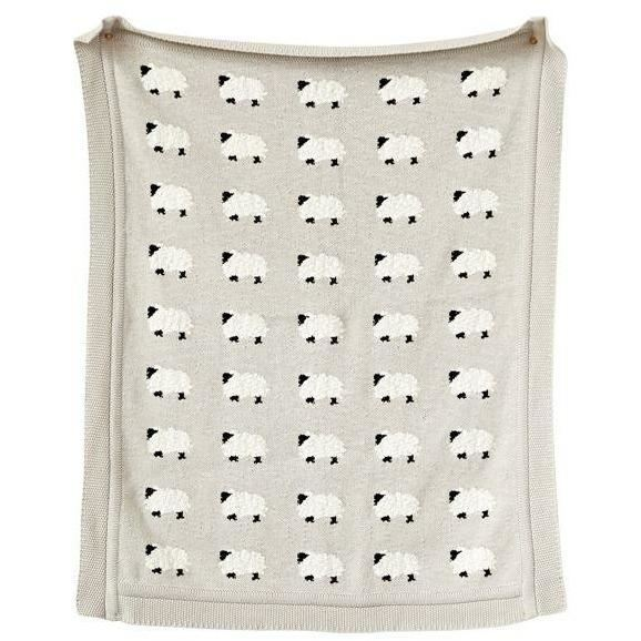 Cotton Foxes Pattern Knit Blanket  in Tan