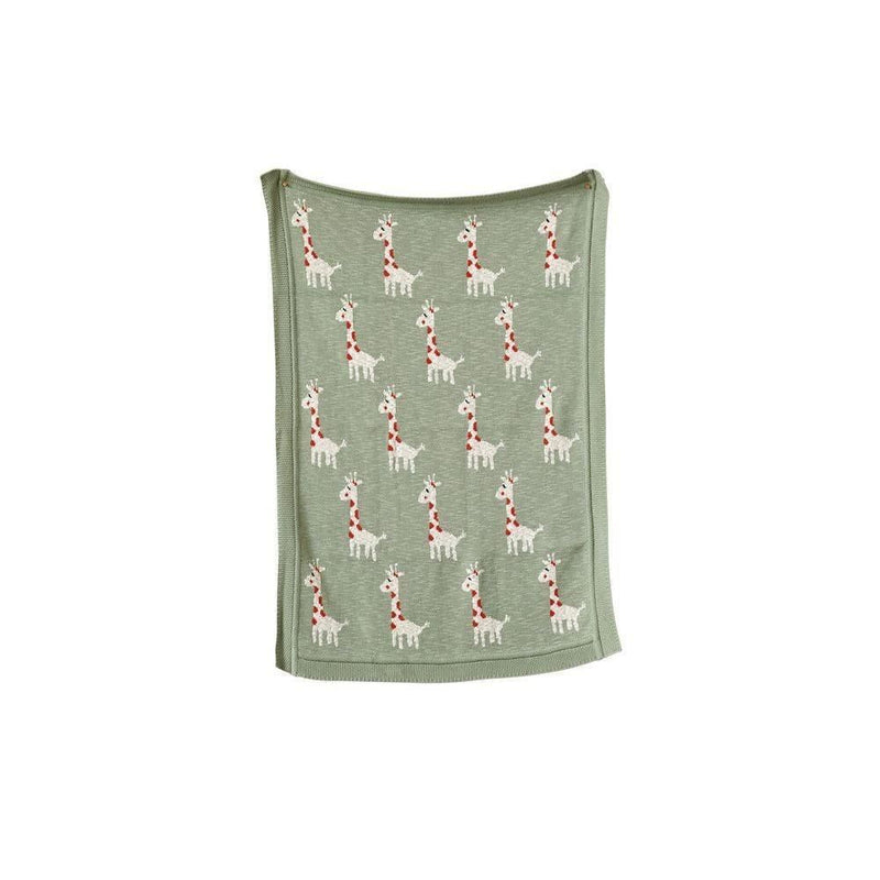 Cotton Knit Blanket Withgiraffes - Blankets